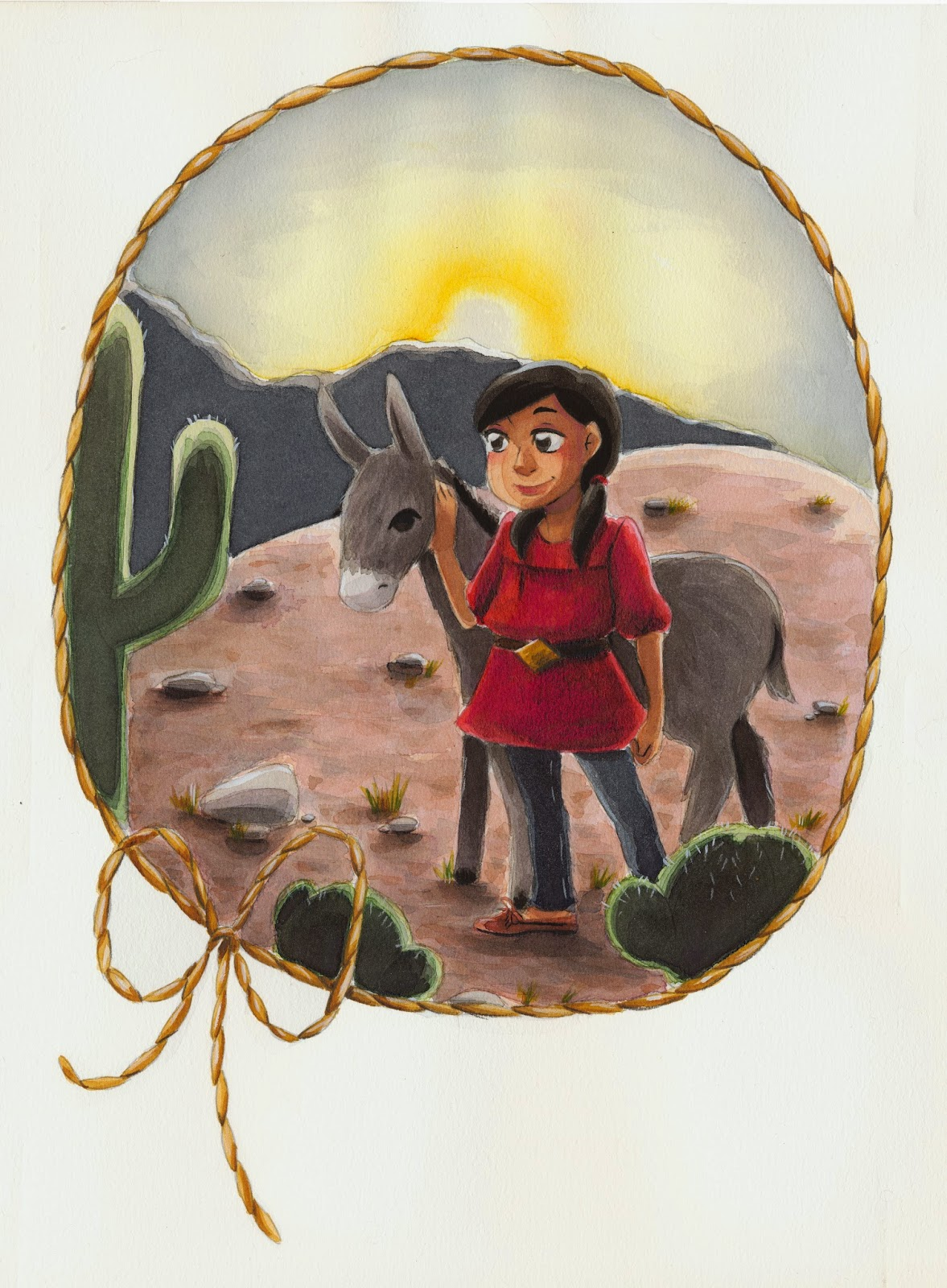 watercolor, Nattosoup Studio, burro, desert, painting, illustration