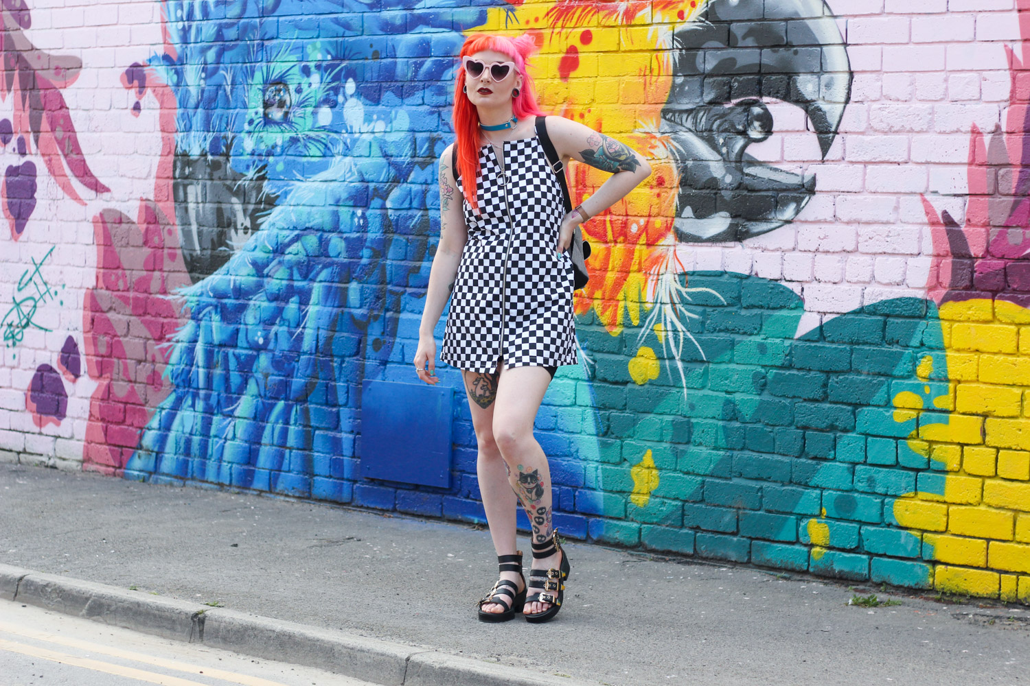 Alternative Fashion Blogger Foxxtailz Style Love Too True Checkerboard Slip Dress