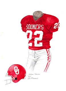 2000 University of Oklahoma Sooners football uniform original art for sale