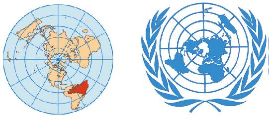 Mapa da terra plana no logo da ONU