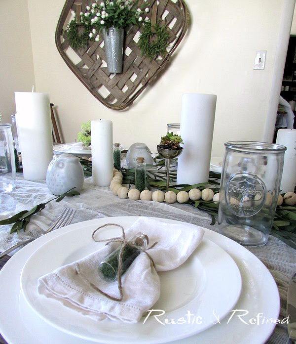 Summer tablescape - using simple white dishes and inexpensive decor for a neutral colored tablescape