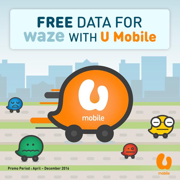 U Mobile Free Data for Waze Until 31 December 2016