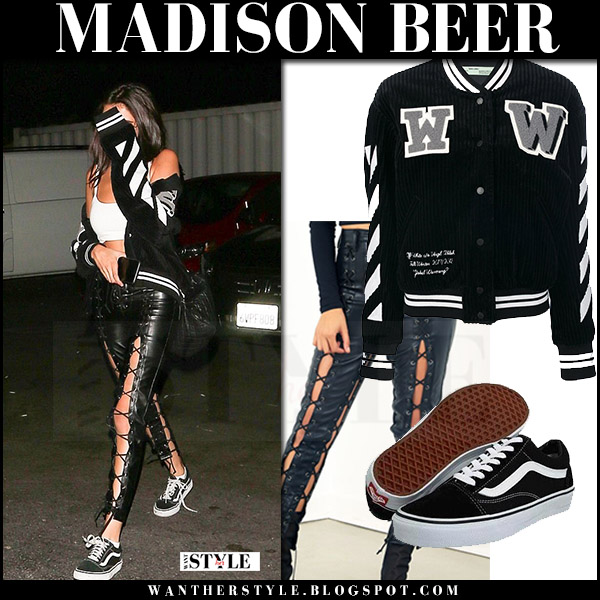 Madison Beer in black varsity jacket and black lace up pants streetstyle what she wore july 23 2017