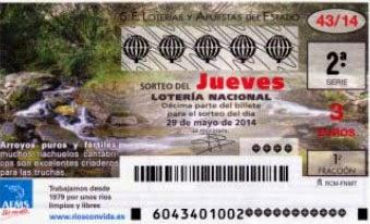 Lotería Nacional del jueves 29 de mayo de 2014