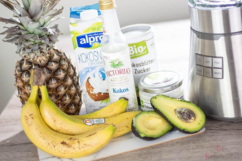 cremiger Ananas-Kokos Smoothie Zutaten