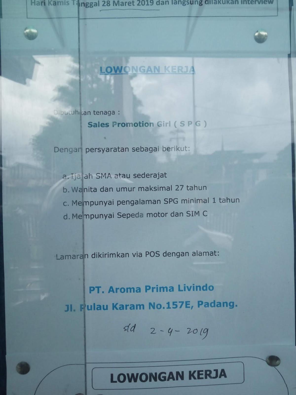 Lowongan Kerja Padang Sales Promotion Girl Spg Adsanjaya