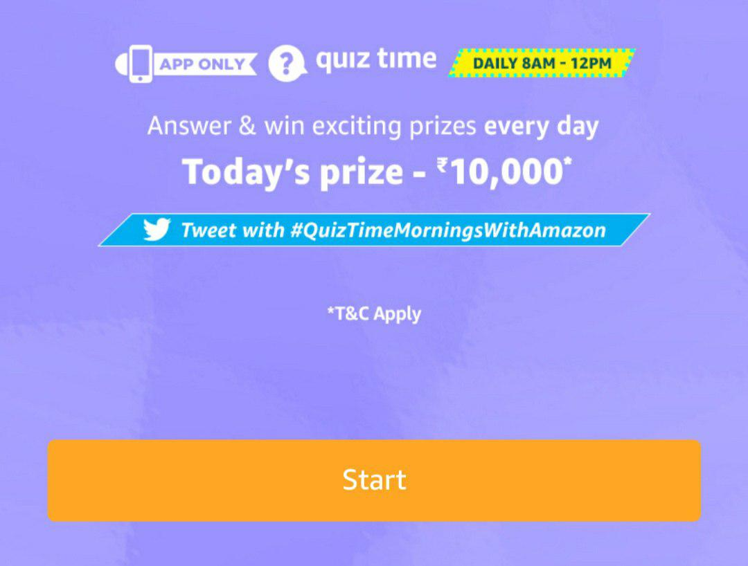 (Today's Answer) Amazon daily quiz - Answer & Win 10000