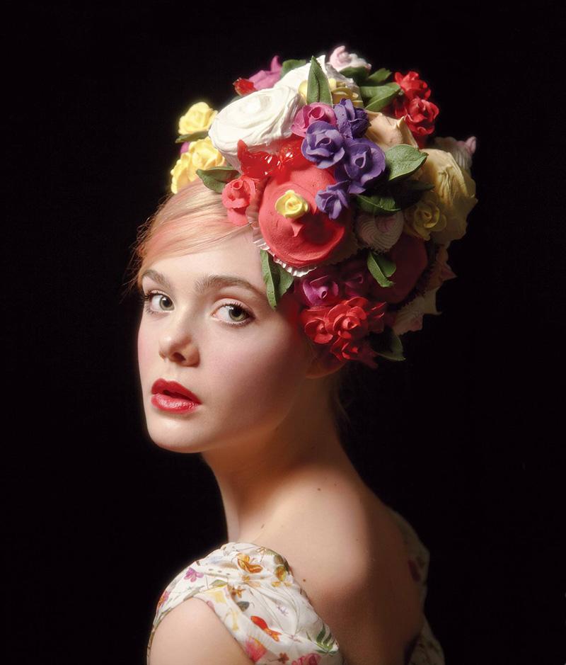 elle fanning portrait will cotton headpiece