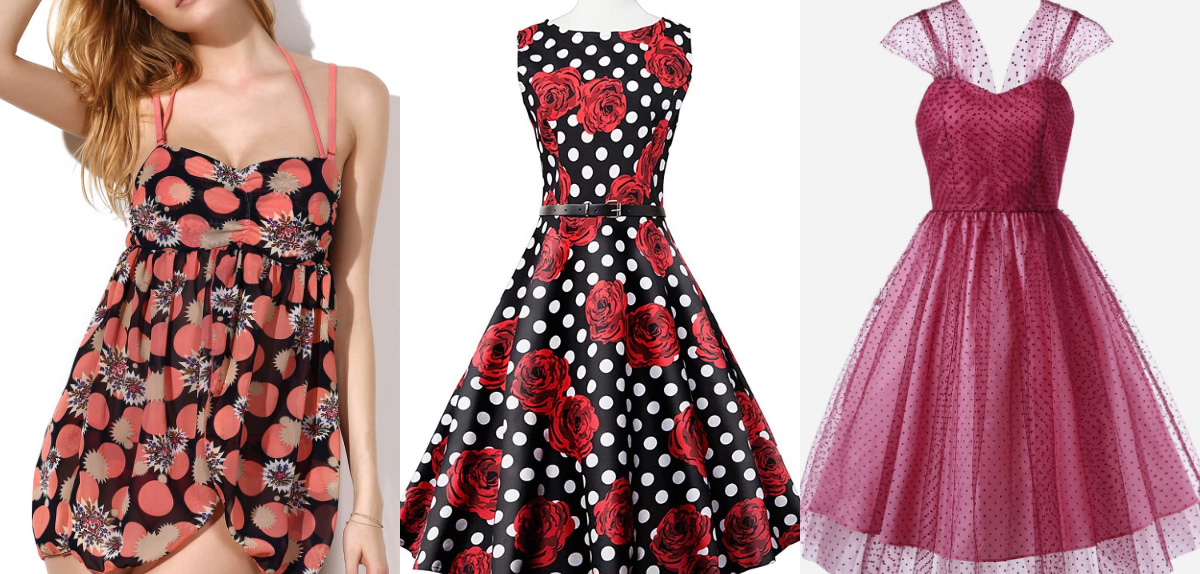 red polkadot dresses