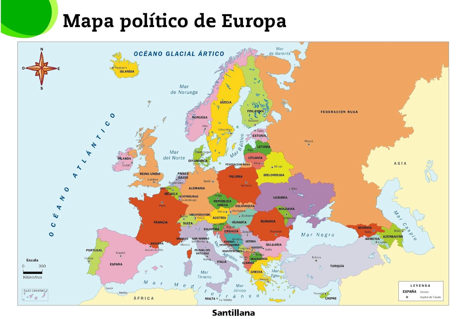 islandia mapa europa Red Geográfica: Mapa físico y político de Europa (3º ESO) islandia mapa europa