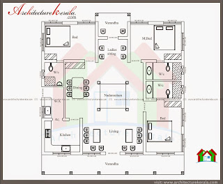 Nalukettu style kerala house with nadumuttam for Modern nalukettu house plans