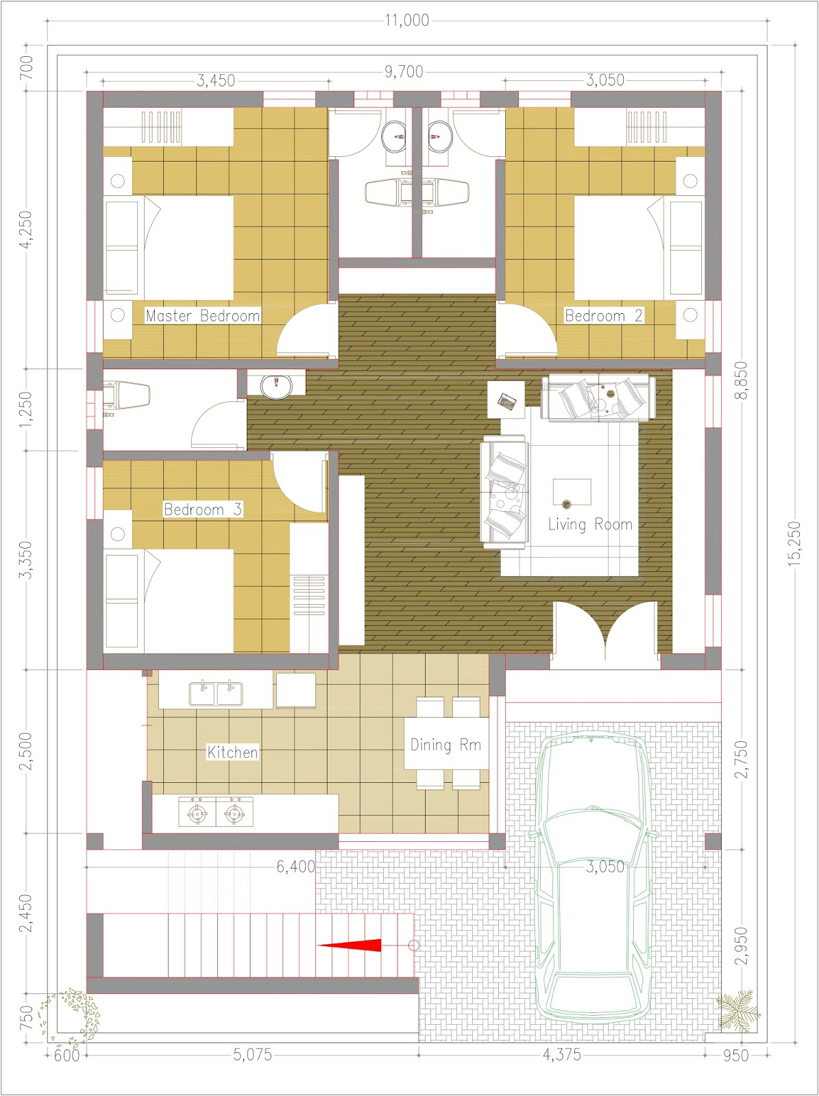 Sketchup One Story House / 3 Bedroom House Plot Size 36x50   SaM ...