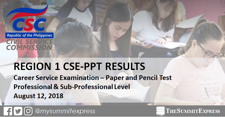 August 2018 civil service exam CSE-PPT results: Region 1 list of passers