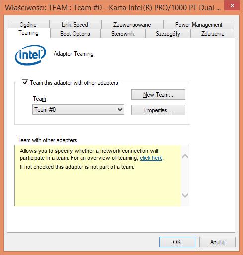 Karta Intel Pro/1000 PT Dual Port ze sterownikami Intel I350-T2 i skonfigurowaną opcją LACP (lub teamingu)
