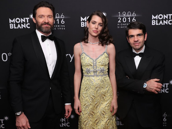 Hugh Jackman, Montblanc CEO Jérôme Lambert and Charlotte Casiraghi attend the Montblanc 110 Year Anniversary Gala Dinner