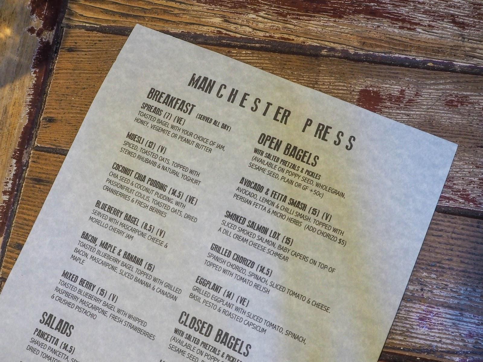 Manchester Press menu