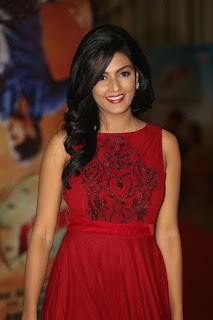 nisha Ambrose Stunning Red Sleevless Gown at Run Movie Audio Launch