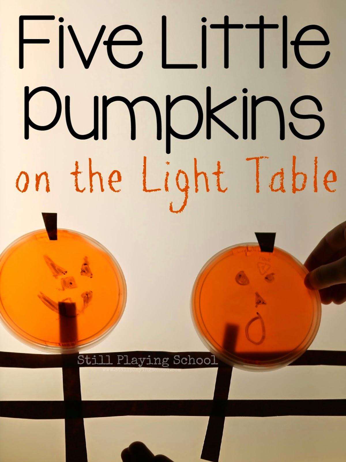 Five Little Pumpkins On The Light Table