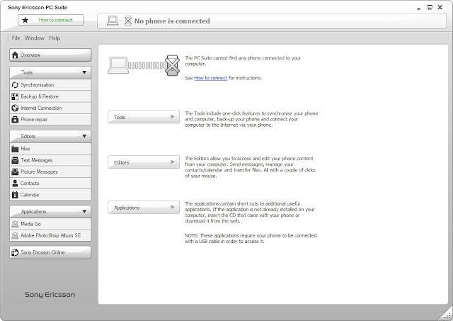 ربط هاتف سوني SONY بالكمبيوتر Sony Ericsson PC Suite 6.011.00