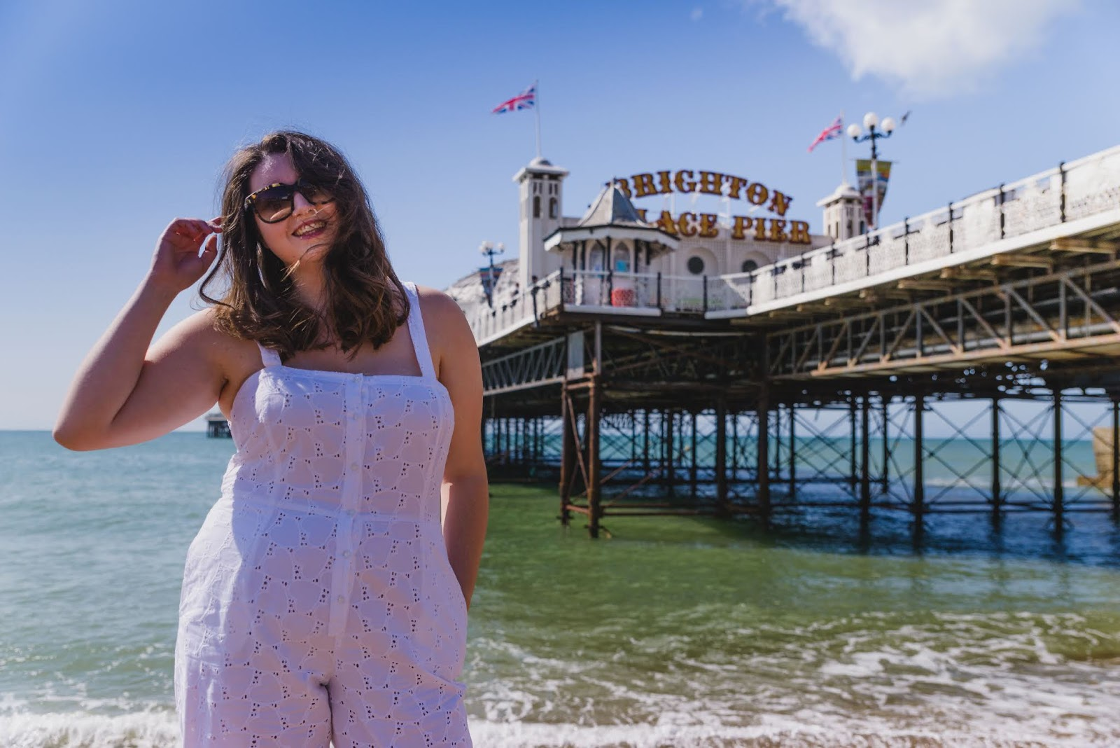 white jumpsuit brighton pier smile liquid grain liquidgrain plus size