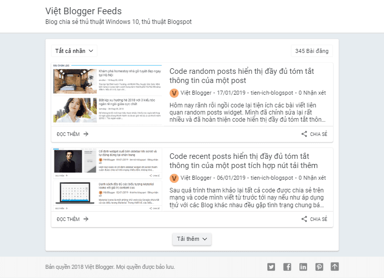 Việt Blogger Feeds Blogger Template