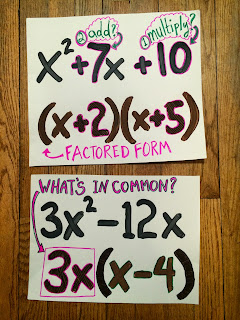 factoring quadratics anchor charts
