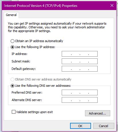 halaman setting lan windows 10