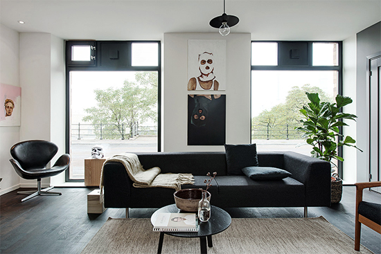 sala, living room, decoração, decor, sofá preto, sala decorada