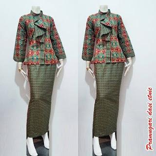 Model Baju Batik Pramugari Dasi Motif Etnik Lengan Panjang Warna Merah