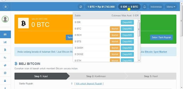 halaman dasboard pembuatan alamat mata uang digital