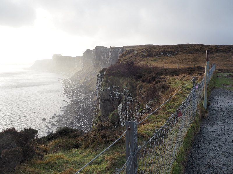 Misty view of the cliffs from Kilt Rock