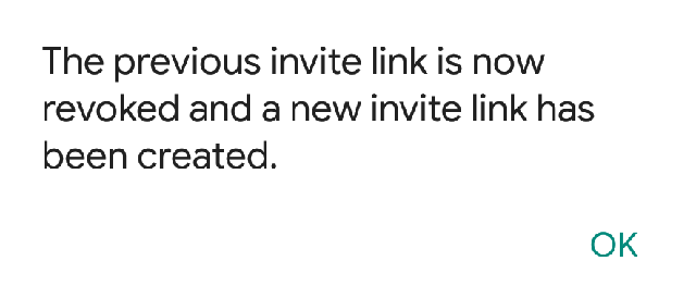 New Group Invitation Link Generated