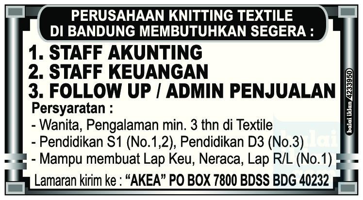 Lowongan Kerja Perusahaan Knitting Textile Bandung Juni 2016