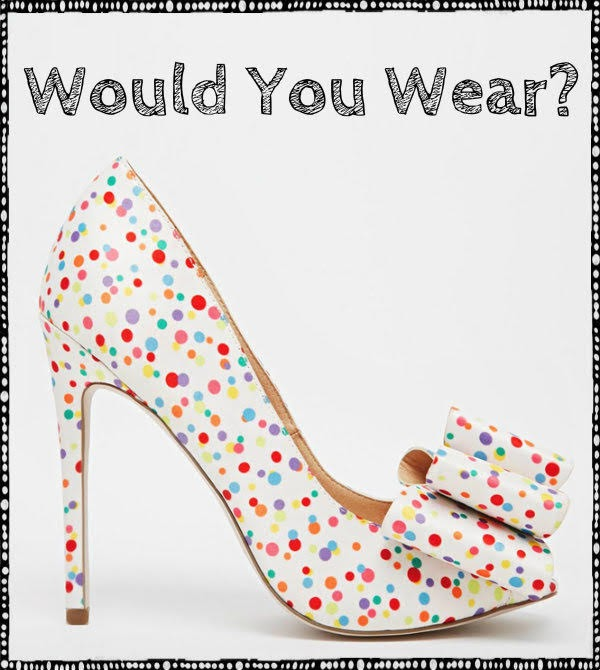 ASOS polka dot shoes on light grey background with question would you wear?