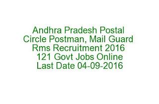 Andhra Pradesh Postal Circle Postman, Mail Guard Rms Recruitment 2016 121 Govt Jobs Online Last Date 04-09-2016 Exam Syllabus