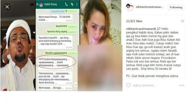 Marah Anaknya Dihina, Nikita Mirzani Sebar Lagi Chat Mesum Habib Rizieq dan Firza Husein