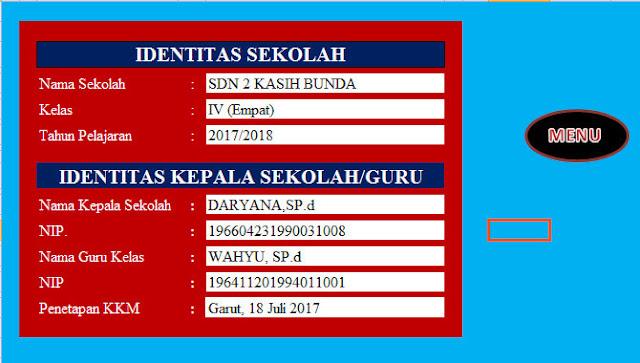 Input Identitas Sekolah Aplikasi KKM SD Kelas IV Revisi Kurikulum 2013 Format Excel.Xlsx
