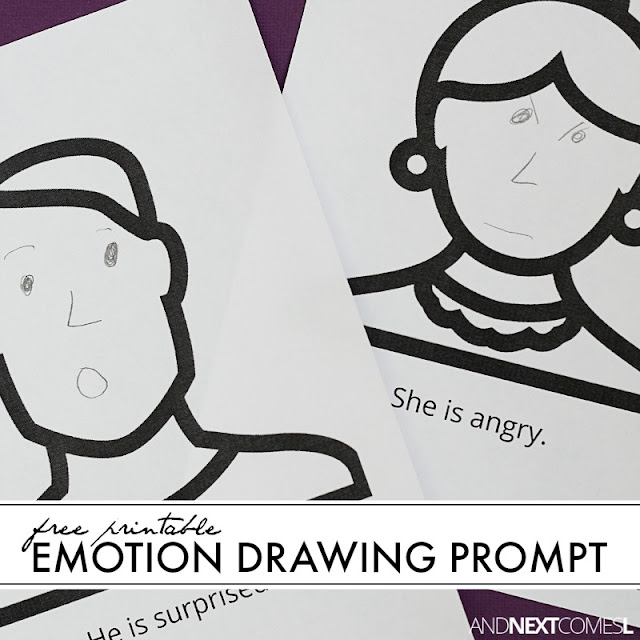 Free printable emotion drawing prompt for kids from And Next Comes L