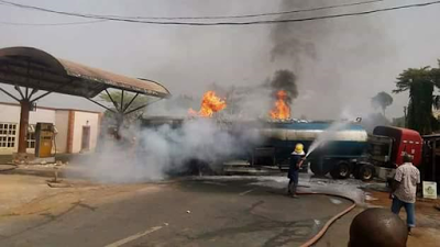 Tragedy averted as fuel tanker catches fire at filling station in Anambra State