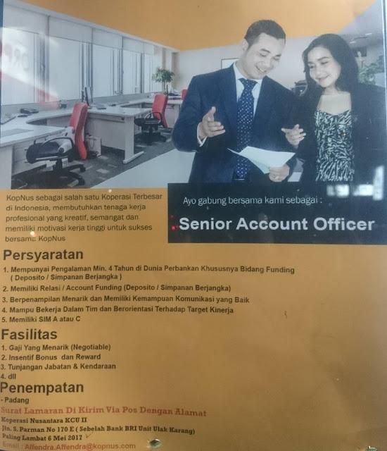 Lowongan Kerja Padang: Koperasi Nusantara KCU II Mei 2017