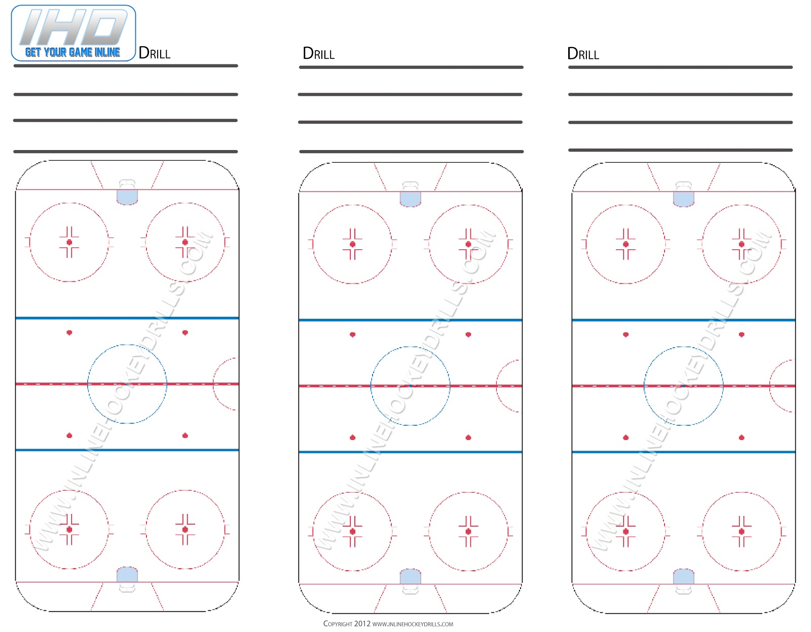 nhl hockey rink diagram printable 2000 ford ranger parts blank downloads inline drills