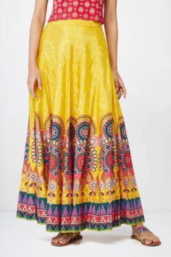 Mustard Abstract Print Festive Skirt