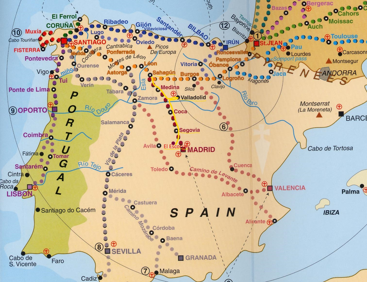 Map Madrid And Portugal And Spain Porto