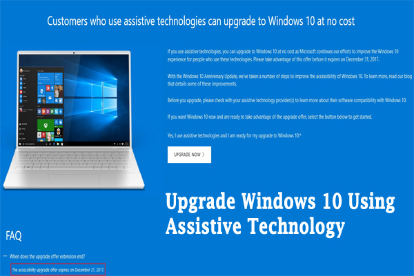 How To Upgrade Windows 10 Using Assistive Technology [100% Working and Free]