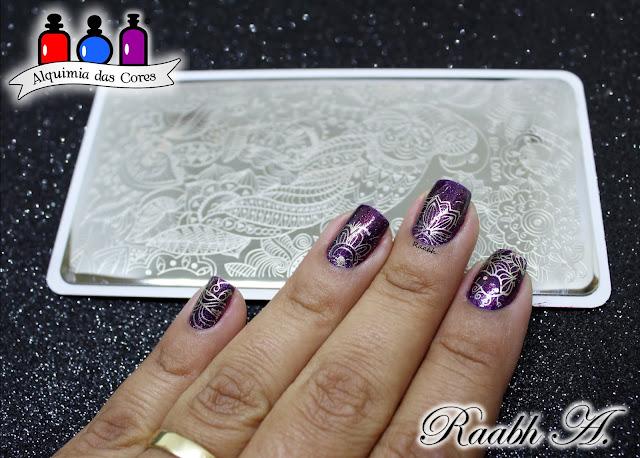 Raabh A. 2018, , Semana Livre, Roxo, Glitter, KIKO 255, ILNP The Magician, Nail art, unhas carimbadas,