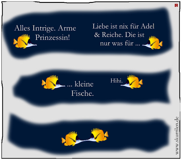 Ozean Tiefsee Epilog Comic Humor Liebe Kuss komisch Pinzettfisch Betrachtung Geschichte