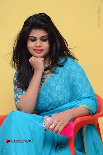 Telugu Actress Alekhya Stills in Green Saree at Swachh Hyderabad Cricket Press Meet  0074.JPG