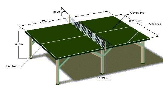 ukuran lapangan tenis meja dan keterangannya