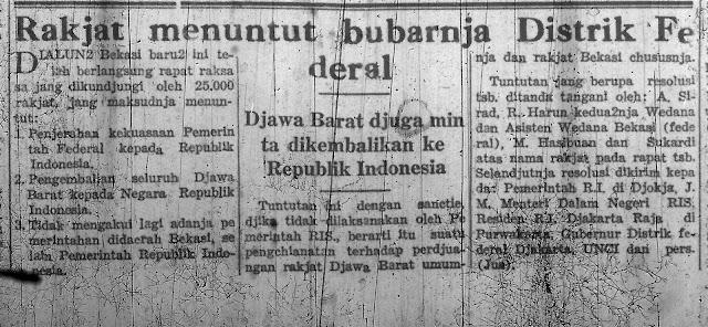 Resolusi Rakyat Bekasi yang disampaikan dalam rapat raksasa sekitar 25.000 rakyat Bekasi pada tanggal 17 Januari 1950 di alun-alun Bekasi