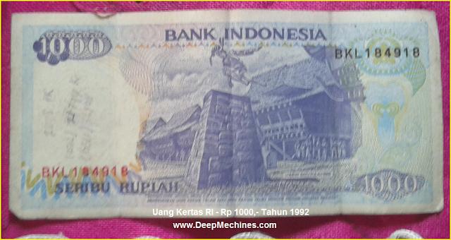 Gambar Mata Uang Kertas RI Rp 500,- Tahun 1987 bergambar Lompat Batu Pulau Nias